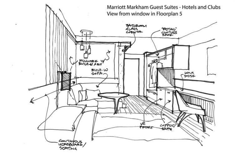 Sketch of hotel room looking towards the door.