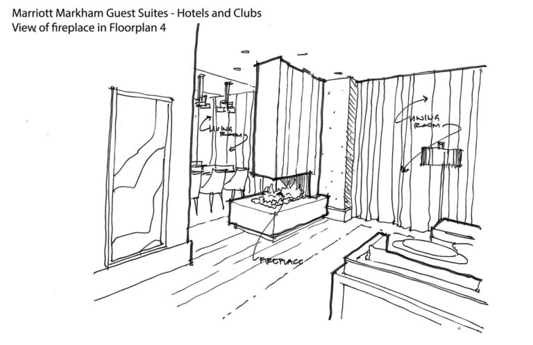 Sketch of hotel suite with details of drapery, fireplace and more.