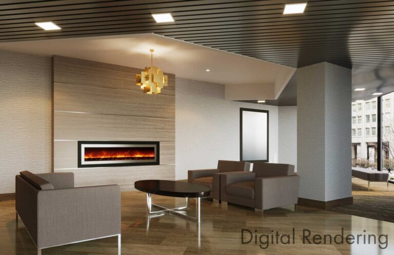Digital rendering of condo lobby space.