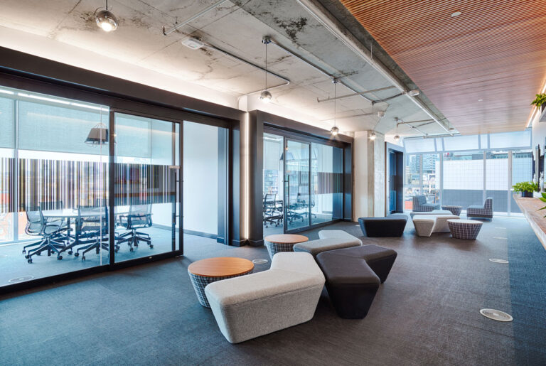 Lounge and closed meeting rooms provide lots of spaces to meet in this office.