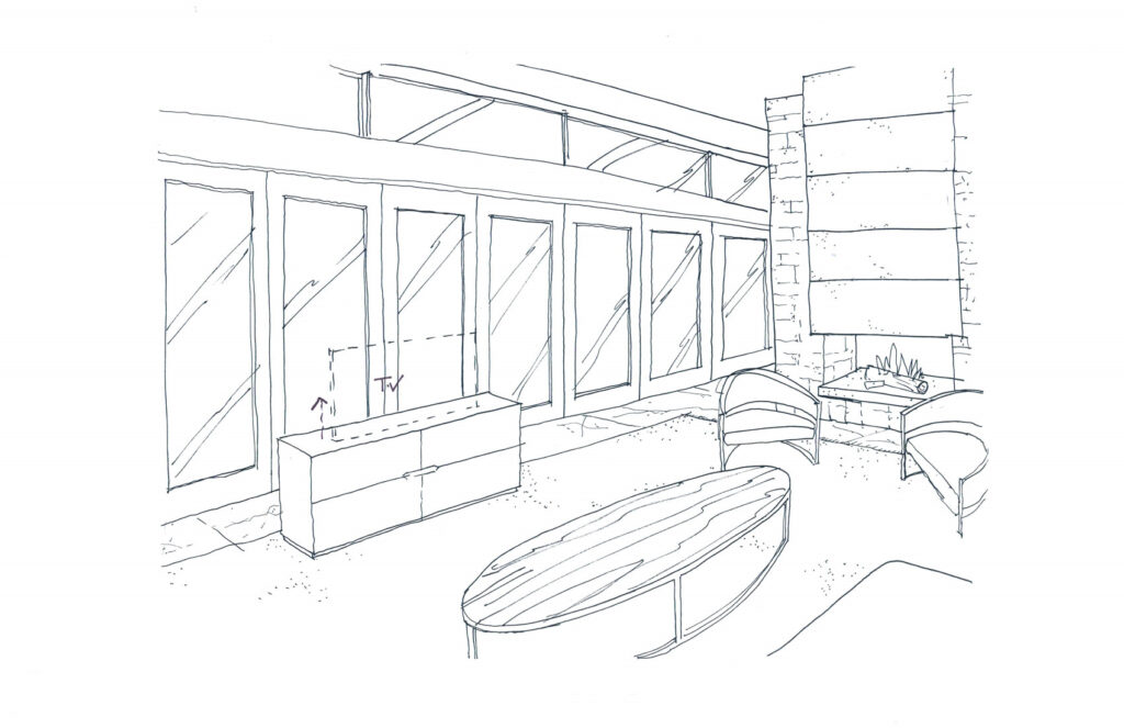 A sketch of the family room with automated TV cabinet.