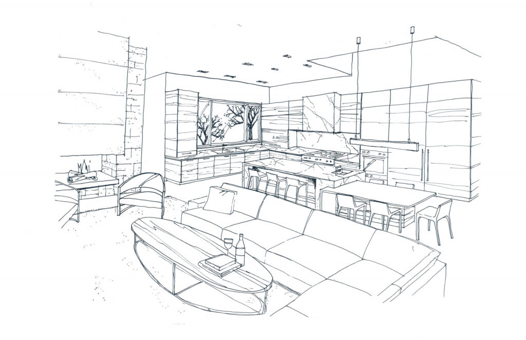A sketch of a kitchen and family room by a Registered Interior Designer.