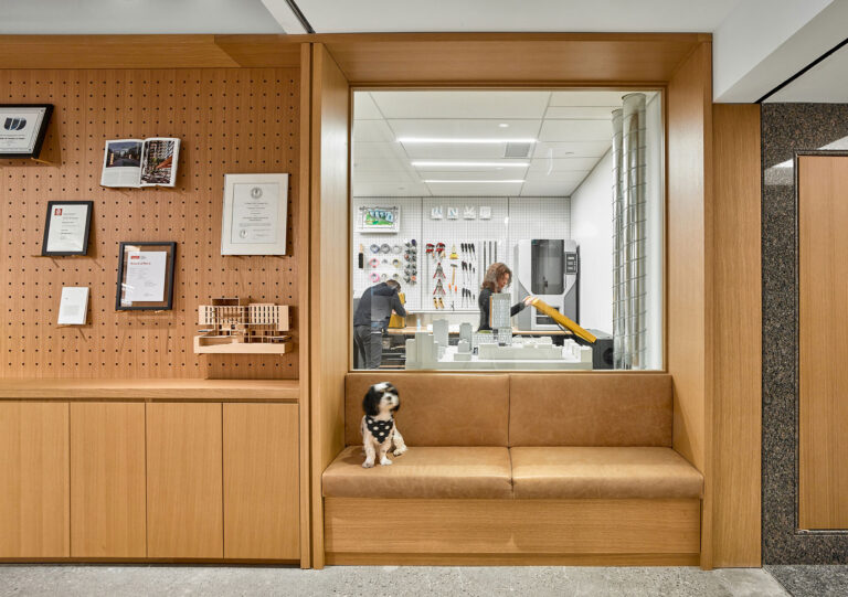 A small black and white dog sits on a maple leather bench seat inset into the wall. The wall behind the seat has a window into an architectural model shop.