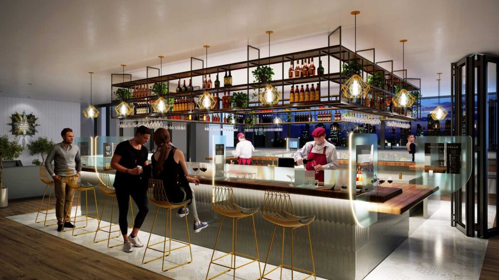 Rendering of bar with rectangular counter in centre of the space with hanging storage overhead.