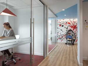 You'd never guess this sleek office is for a dairy co-op