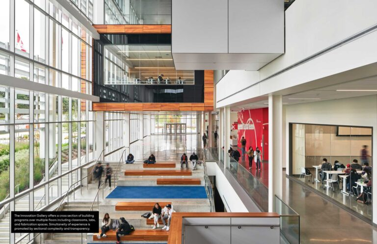 """A floating conference room overlooks an open atrium called the """"innovation gallery""""."""
