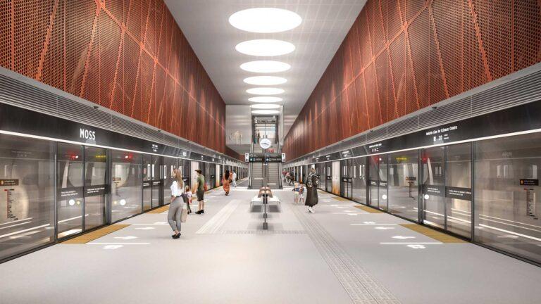 Rendering of Subway Design at platform level with platform edge doors.
