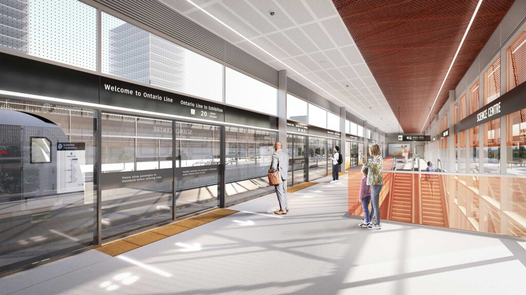 Rendering of the interior elevated platform of the DS-09 Subway design standard of an outdoor, elevated station.