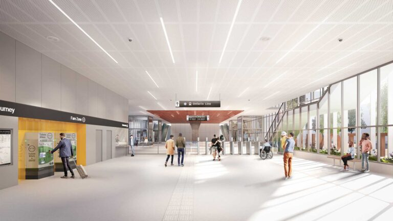 Rendering of new DS-09 Subway Design Standard from the entrance, before the turnstiles.
