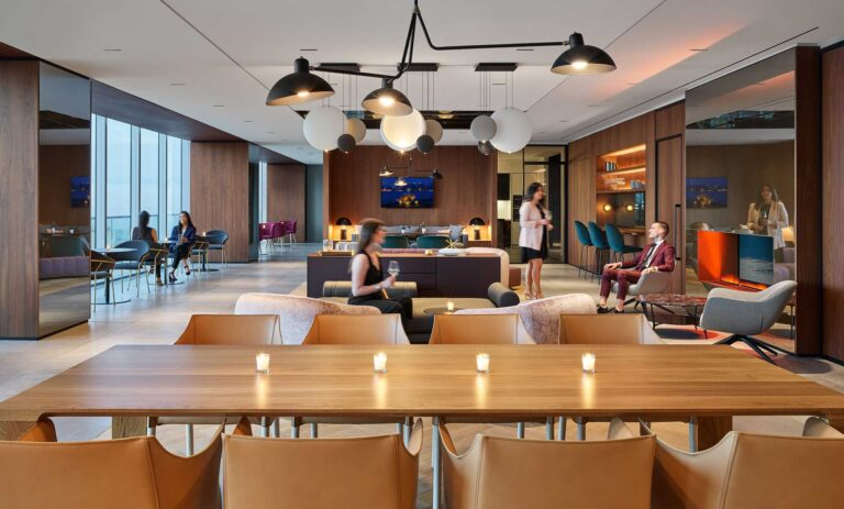 A table for 12 provides ample gathering space for employees at First Gulf.