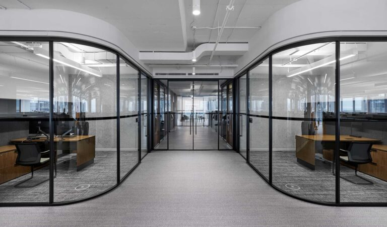 Two glass enclosed meeting rooms at First Gulf