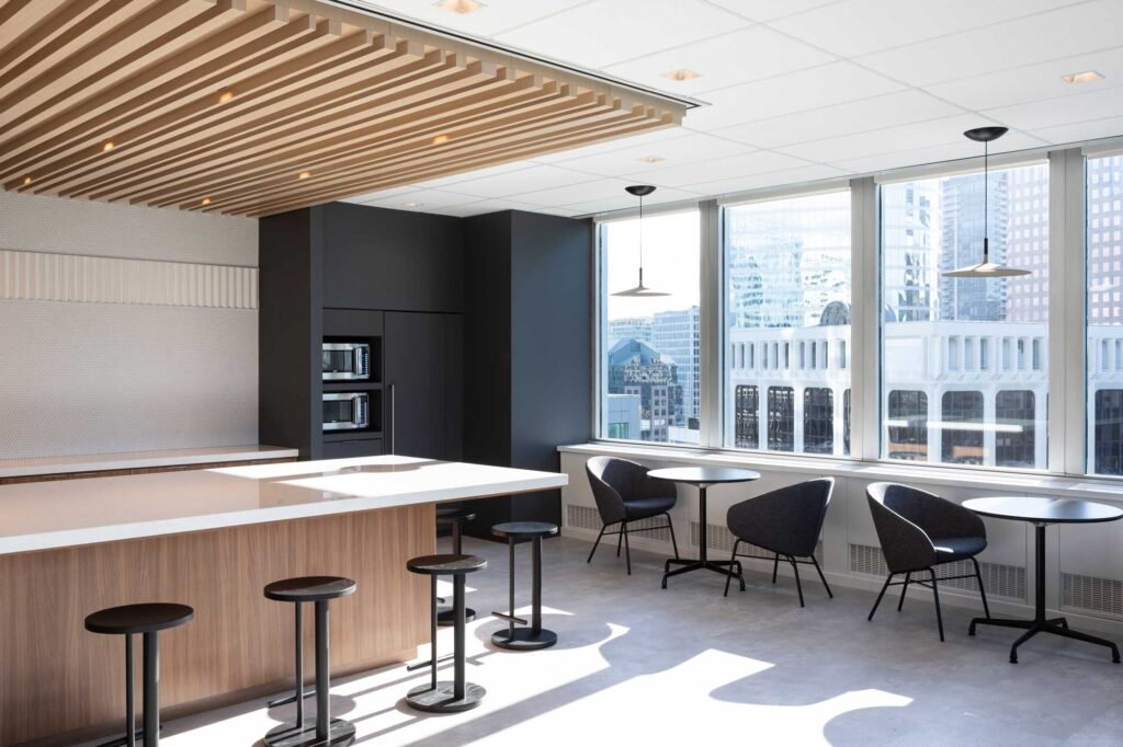 The employee cafe space at Richardson Wealth boasts beautiful city views of the Vancouver skyline..