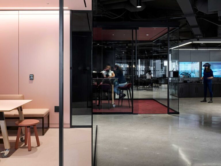 A pink phone room provides a plush place to have a quick meeting in Smart City Sanbox.