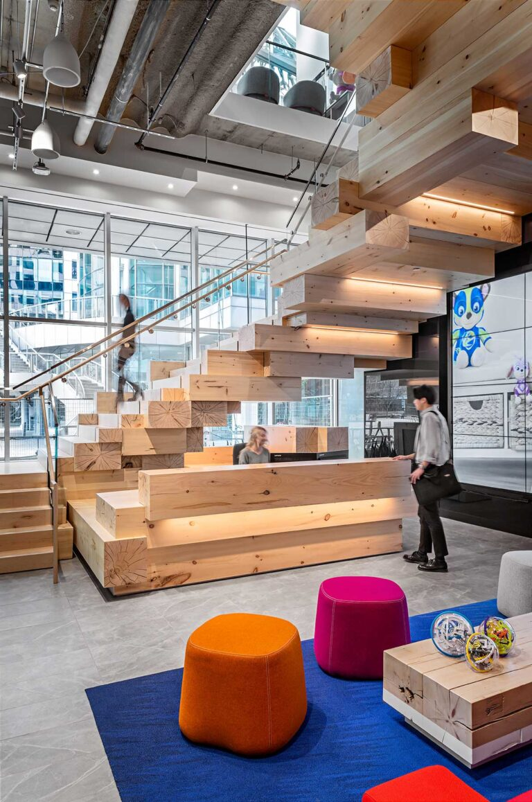 The reception area at Spin Master office leads visitors and staff up set of stairs designed to look like a stack of toy blocks.