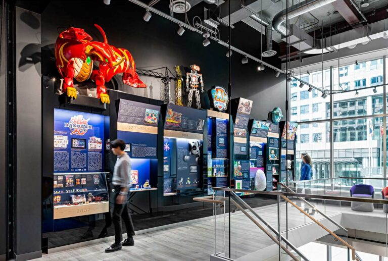 A feature wall at Spin Master Games provides an overview of the company
